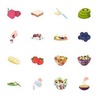 Gesetzte ikone der fruchtlebensmittel-karikatur. bio-gemüse. getrenntes gesetztes ikonenfruchtlebensmittel der karikatur.
