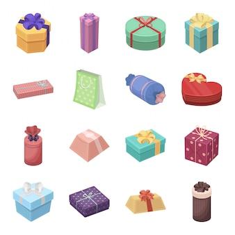 Gesetzte ikone der geschenk- und zertifikatkarikatur. abbildung weihnachtsbox. lokalisiertes gesetztes ikonengeschenk und -zertifikat der karikatur.