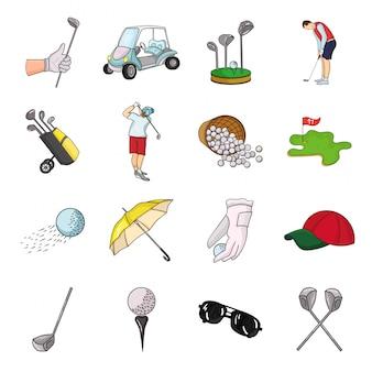 Gesetzte ikone der golfclubkarikatur. gesetzte ikonenausrüstung der lokalisierten karikatur für golfspieler. abbildung golfschläger.