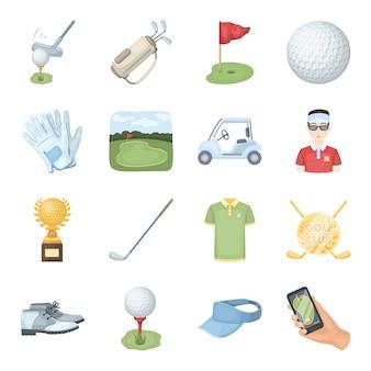 Gesetzte ikone der golfclubkarikatur. getrennte gesetzte sportausrüstung der karikatur. golfclub .
