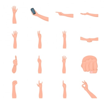 Gesetzte ikone der hand- und fingerkarikatur. lokalisierte gesetzte ikonengeste der karikatur. hand und finger.