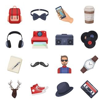 Gesetzte ikone der hippie-karikatur. abbildung mode-stil. lokalisierter gesetzter ikonenmodehippie der karikatur.