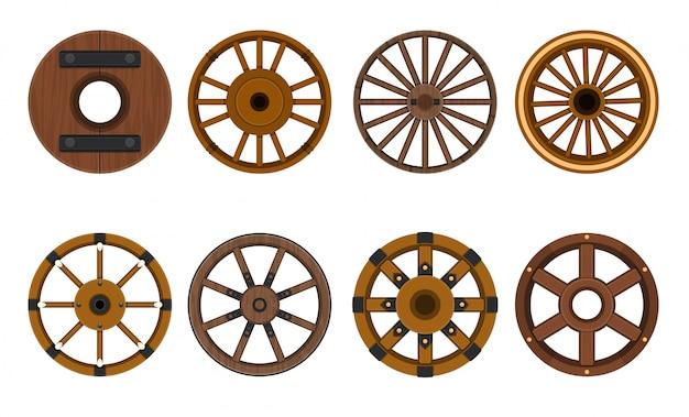 Gesetzte ikone der hölzernen radvektorkarikatur vektorillustrationswarenkorb des rades. lokalisiertes karikaturikonen-wagenrad für lastwagen.