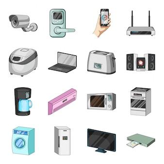 Gesetzte ikone der intelligenten hauptkarikatur. gesetzter ikonensalon der gerätekarikatur. intelligentes zuhause .