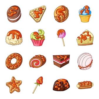 Gesetzte ikone der karamellnachtisch-karikatur. sahnelebensmittel lokalisierte gesetzte ikone der karikatur. karamell-dessert.