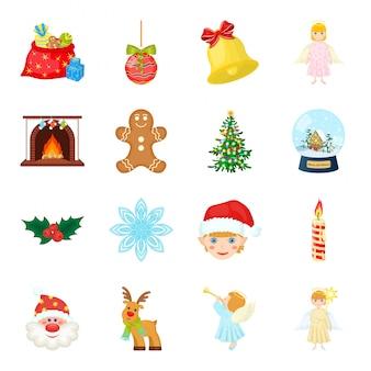 Gesetzte ikone der karikatur der frohen weihnachten. weihnachten. lokalisierte gesetzte ikone der karikatur frohe weihnachten.