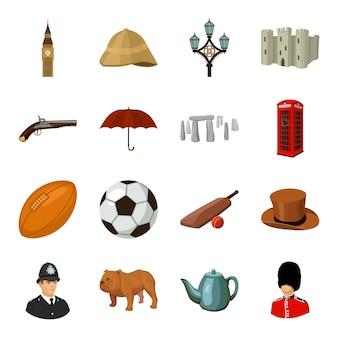 Gesetzte ikone der land-england-karikatur. illustrationsreise in großbritannien. lokalisiertes gesetztes ikonenland england der karikatur.