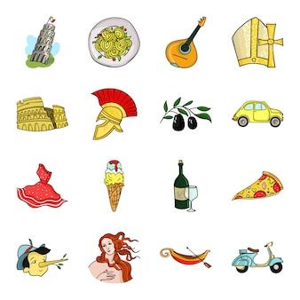 Gesetzte ikone der land-italien-karikatur. lokalisierter gesetzter ikoneneuropäischer italiener der karikatur. abbildung wahrzeichen italien.