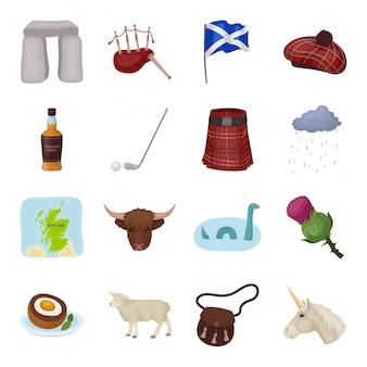 Gesetzte ikone der land-schottland-karikatur. illustration schottisch. lokalisiertes gesetztes ikonenland schottland der karikatur.