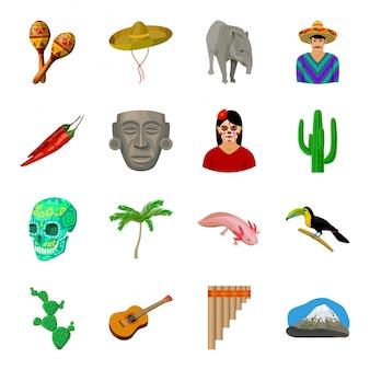 Gesetzte ikone der landmexiko-karikatur. illustrationsreise-mexikaner. lokalisiertes gesetztes ikonenland mexiko der karikatur.