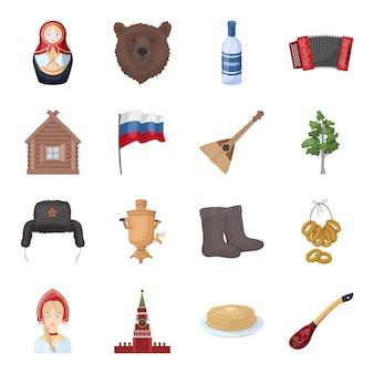 Gesetzte ikone der landrussland-karikatur. reise in moskau lokalisierte gesetzte ikone der karikatur. abbildung land russland.