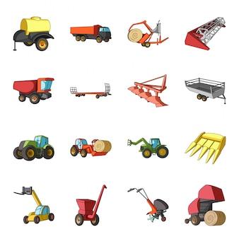 Gesetzte ikone der landwirtschaftsmaschinerie-karikatur. abbildung traktor für bauernhof. lokalisierte gesetzte ikonenlandwirtschaftsmaschinerie der karikatur.