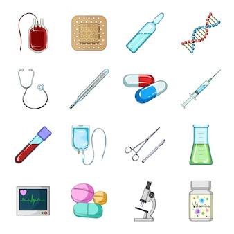 Gesetzte ikone der medizinkarikatur. lokalisierte gesetzte apotheke und krankenhaus der karikatur. medizin.