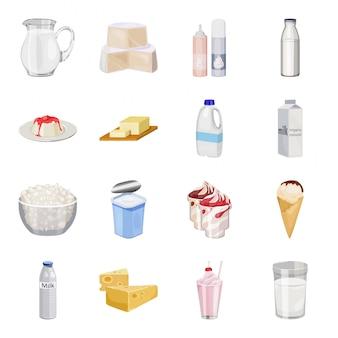 Gesetzte ikone der milchproduktkarikatur. gesetzte ikone der lokalisierten karikatur des milchlebensmittels. abbildung milchprodukt.
