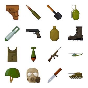 Gesetzte ikone der militär- und armeekarikatur. illustration waffe militär. isolierte cartoon-set-symbol krieg der armee.