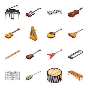 Gesetzte ikone der musikinstrument-karikatur. orchester lokalisierte gesetzte ikone der karikatur. abbildung musikinstrument.