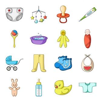 Gesetzte ikone der neugeborenen karikatur. sorgfaltbaby lokalisierte gesetzte ikone der karikatur. abbildung familie und neugeborenen.