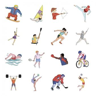 Gesetzte ikone der olympischen sportkarikatur. meister lokalisierte gesetzte ikone der karikatur. abbildung olympischen sport.