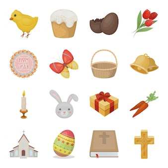 Gesetzte ikone der ostern-feiertagskarikatur. feiertag lokalisierte gesetzte ikone der karikatur. osterferien .