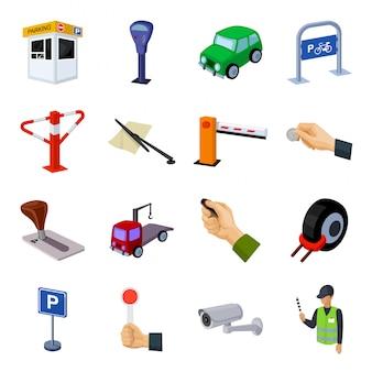 Gesetzte ikone der parkzonen-karikatur parkauto lokalisierte gesetzte ikone der karikatur. abbildung parkzone.
