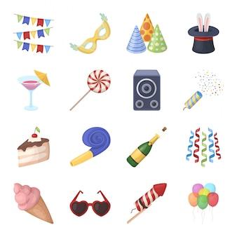Gesetzte ikone der partygeburtstagskarikatur. urlaub . lokalisierter gesetzter ikonen-partygeburtstag der karikatur.
