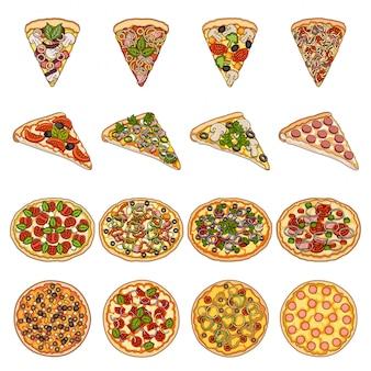 Gesetzte ikone der pizzalebensmittel-karikatur. kochmenü. lokalisiertes gesetztes ikonen-pizzalebensmittel der karikatur.
