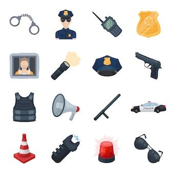 Gesetzte ikone der polizeizonen-karikatur sicherheit lokalisierte gesetzte ikone der karikatur. abbildung polizei.
