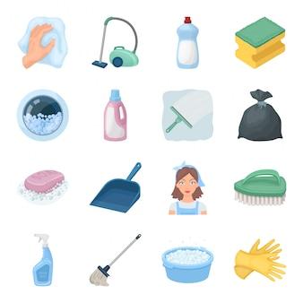 Gesetzte ikone der reinigung und der mädchenkarikatur. reinigungsservice lokalisierte gesetzte ikone der karikatur. abbildung reinigung und magd.