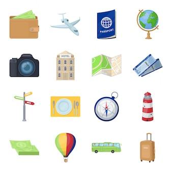 Gesetzte ikone der rest- und reisekarikatur. gesetzte ikone der sommerruhe lokalisierten karikatur. illustration tourismus reisen.