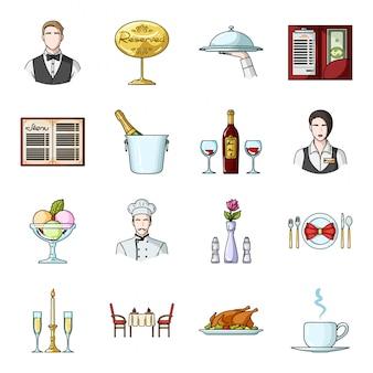 Gesetzte ikone der restaurantkarikatur. restaurant der lebensmittel lokalisierten gesetzten ikone der karikatur. abbildung cafe.