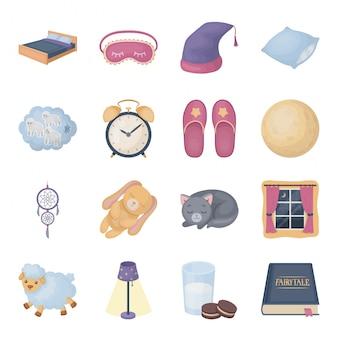 Gesetzte ikone der schlaf- und restkarikatur. getrennter gesetzter ikonentraum der karikatur. abbildung schlaf und ruhe.