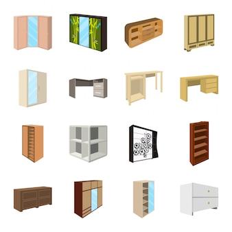Gesetzte ikone der schlafzimmermöbel-karikatur. abbildung innenraum. lokalisierte gesetzte ikonenschlafzimmermöbel der karikatur.