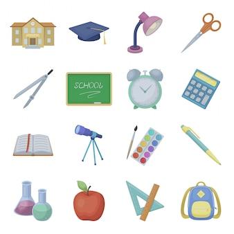 Gesetzte ikone der schulkarikatur. illustrationserziehung. lokalisierte gesetzte ikonenschule der karikatur.