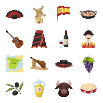 Gesetzte ikone der spanien-landkarikatur. abbildung spanisch reisen. lokalisierte gesetzte ikone spanien-land der karikatur.