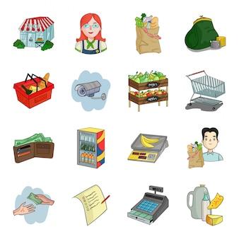 Gesetzte ikone der supermarktkarikatur speicher und markt lokalisierte gesetzte ikone der karikatur. illustrationsgeschäft.