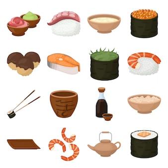 Gesetzte ikone der sushilebensmittelkarikatur