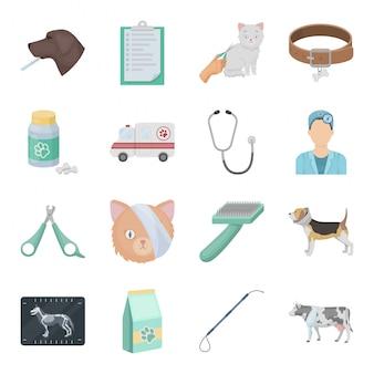 Gesetzte ikone der tierarztklinik-karikatur. veterinärkrankenhaus lokalisierte gesetzte ikone der karikatur. illustration tierklinik.