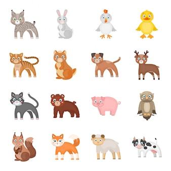 Gesetzte ikone der tierkarikatur. gesetzte ikone der zoo-karikatur. tier.