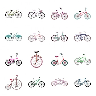 Gesetzte ikone der unterschiedlichen fahrradkarikatur. illustration fahrrad. getrenntes unterschiedliches fahrrad der gesetzten ikone der karikatur.