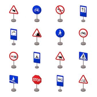 Gesetzte ikone der verkehrsschild-karikatur. pfeil lokalisierte gesetzte ikone der karikatur. abbildung straßenschild.
