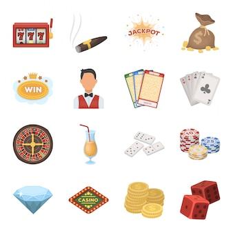 Gesetzte ikone des kasinos und der spielenden karikatur. illustrationsspiel des jackpots. lokalisiertes gesetztes ikonenkasino der karikatur und spielen.