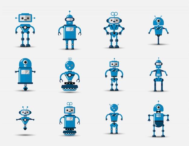 Gesetzte ikone des lustigen roboters der lustigen weinlese in der flachen art auf grau