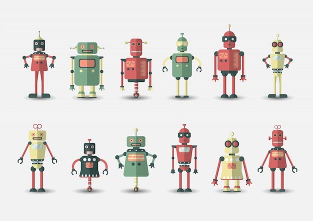 Gesetzte ikone des lustigen roboters der retro- weinlese in der flachen art auf grau
