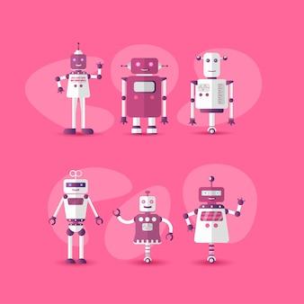 Gesetzte ikone des lustigen roboters der retro- weinlese in der flachen art auf rosa