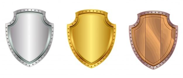 Gesetzte ikone des silbers, des goldes und des hölzernen schildes lokalisiert auf weiß