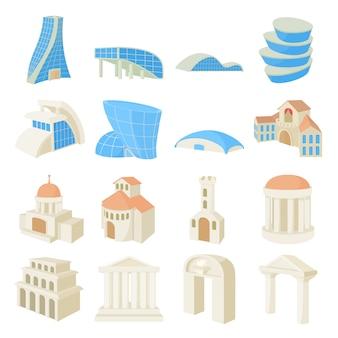 Gesetzte ikonen der architektur in lokalisiertem vektor der karikatur art