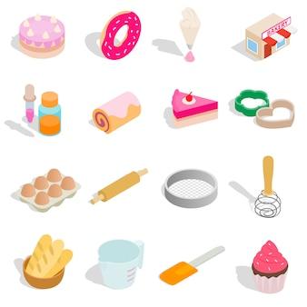 Gesetzte ikonen der bäckerei in der isometrischen art 3d lokalisiert auf weißem hintergrund