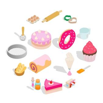 Gesetzte ikonen der bäckerei, isometrische art