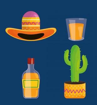 Gesetzte ikonen der feier cinco des mayo