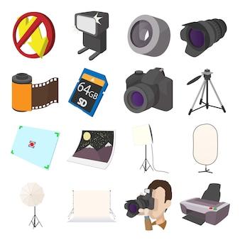 Gesetzte ikonen der fotografie im karikaturartvektor